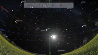 Stellarium: The sun arriving at the vernal point, spring equinox, March 2017