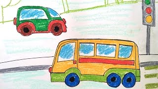 How to draw transport for kids | How to draw a bus easy | Art for kids | Bé tập vẽ ô tô