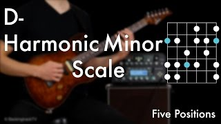 D Harmonic Minor Scale - Five Positions