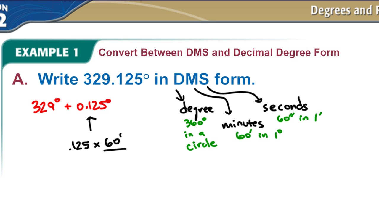 4-2 Example 1 Convert Between DMS and Decimal Degree Form