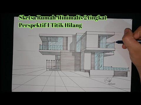 Cara Membuat Rumah Minimalis Dengan Perspektif 1 Titik Hilang Gambar Teknik Otomotif Youtube