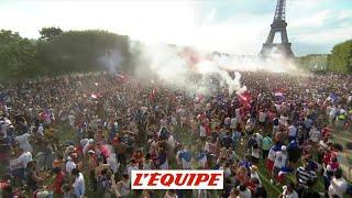 La joie des supporters au coup de sifflet final - Foot - CM 2018 - Bleus