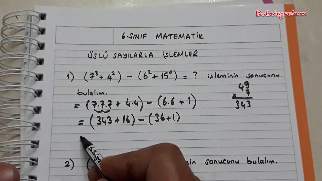 6.sınıf matematik Üslü sayılarla işlemler-Bulbulogretmen
