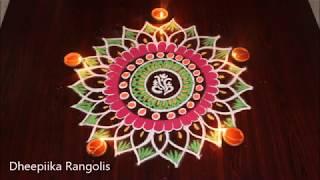 Creative ganesh rangoli  using invitation card with colours * friday muggulu * new kolam designs