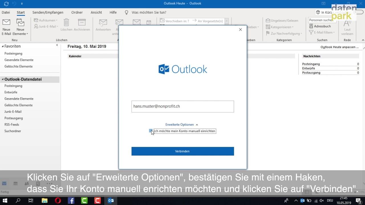 Account in Outlook 10 einrichten - YouTube