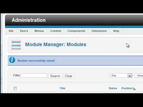 Joomla 1.7/1.6 Tutorial - Lesson 9 - Modules