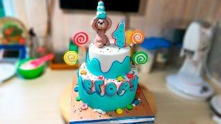 Двухъярусный детский торт с мишкой / Bunk children