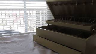 Beautiful Vintage Mele Ivory And Gold Auto Open Drawer Jewelry Box