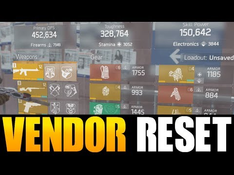 THE DIVISION - DECENT VENDOR RESET   GOD ROLL WEAPONS, GEAR & GEAR MODS! (YOU NEED TO BUY)