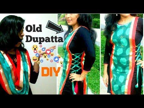 Convert old dupatta into jacket for your kurthi/salwar/anarkali | reuse old dupatta|dupatta styles