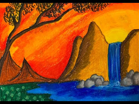 Mountain with waterfall drawing tutorial for kids – Landscape drawing with oil pastel