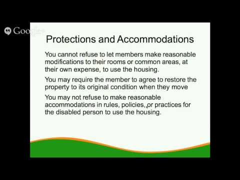 The Fair Housing Act and Your Co-op - 4 of 5 - Disability and Family Status