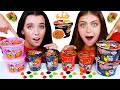 ASMR SPICY FIRE NOODLES VS UNKNOWN FOOD CHALLENGE (TIK TOK JELLY, BUBBLE GUM, GUMMY BEAR)