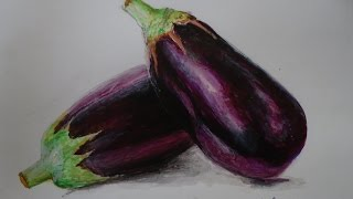 How to draw , Realistic Brinjal -  Acrylic painting