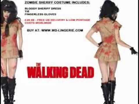 ZOMBIE POLICE WOMAN COSTUME - UNDEAD SHERIFF OUTFIT - FANCY DRESS WALKING DEAD HALLOWEEN UNIFORM ...