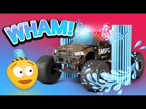 Police Car Wash | 3D Police Monster Truck Cartoon for Kids | Educational Videos for Children