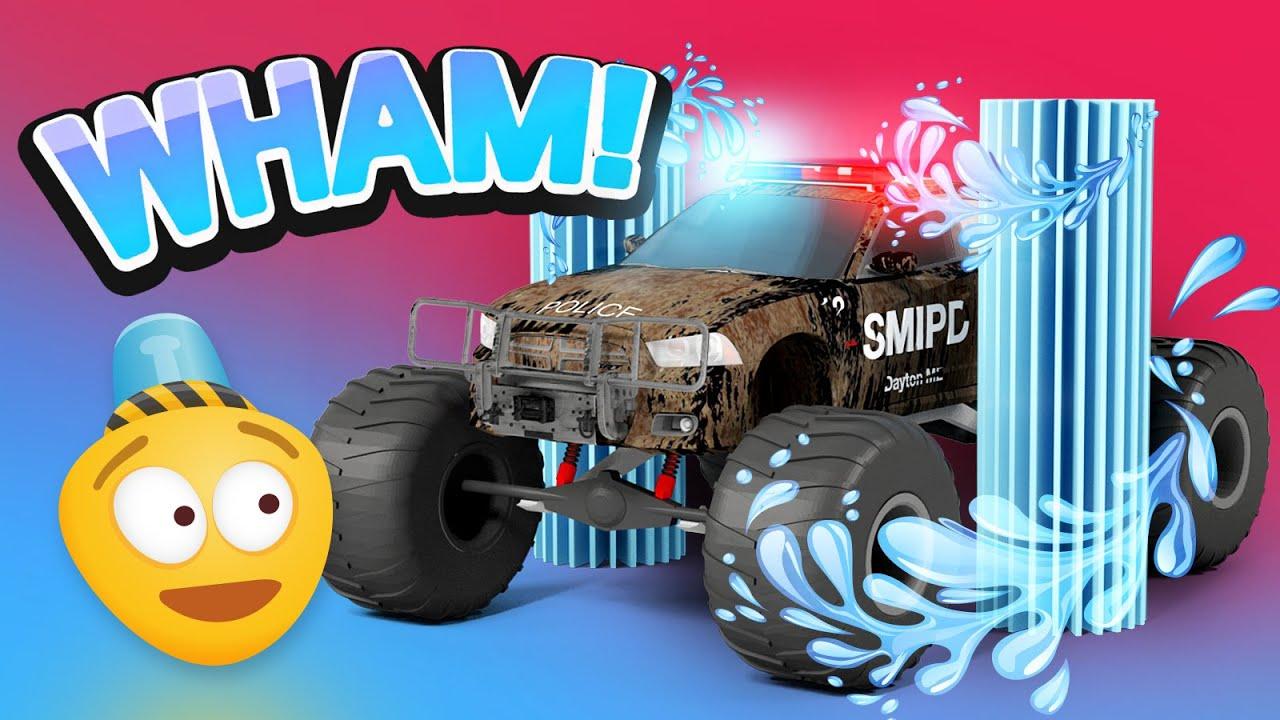 Police Car Wash 3d Police Monster Truck Cartoon For Kids