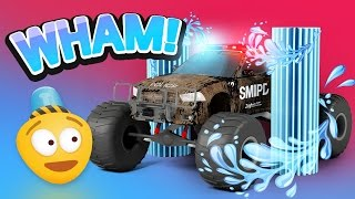 police car wash   3d police monster truck cartoon for kids   educational videos for children