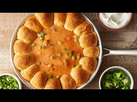 skillet-queso-dip-with-taco-biscuit-bombs-|-pillsbury-recipe