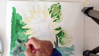 watercolor tutorial how to paint an easy sunflower background