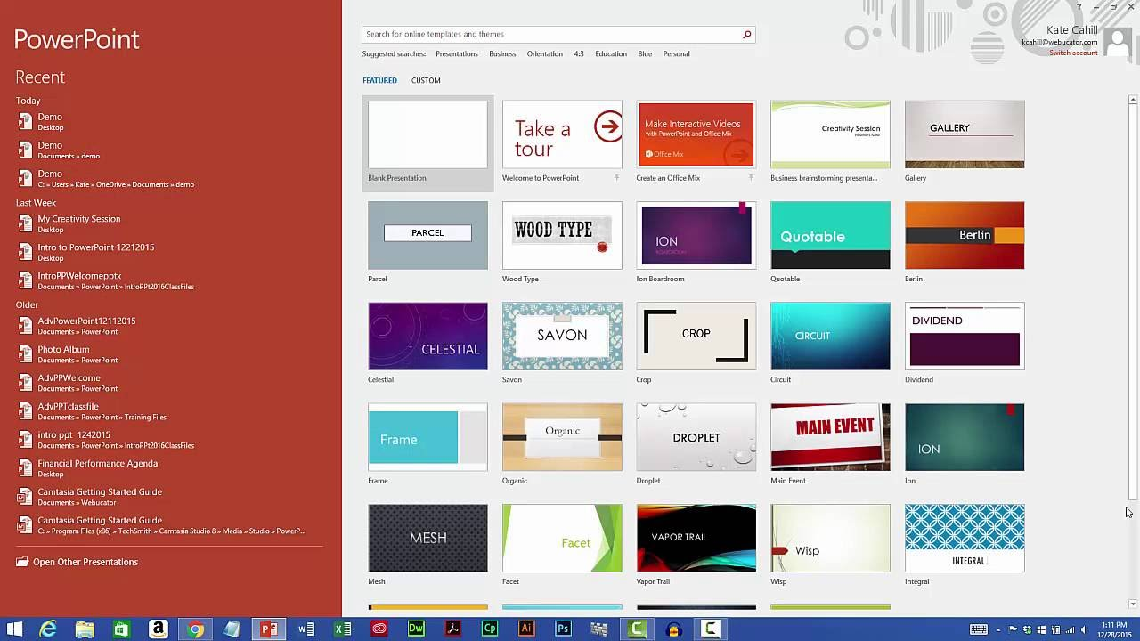 starting microsoft powerpoint youtube
