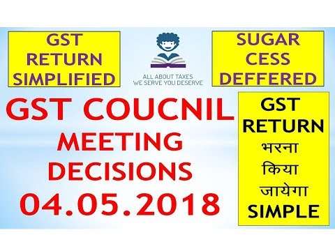 GST COUNCIL 27 MEETING DECISION ! GST RETURN SIMPLIFIED ! SUGAR CESS DEFFERED !