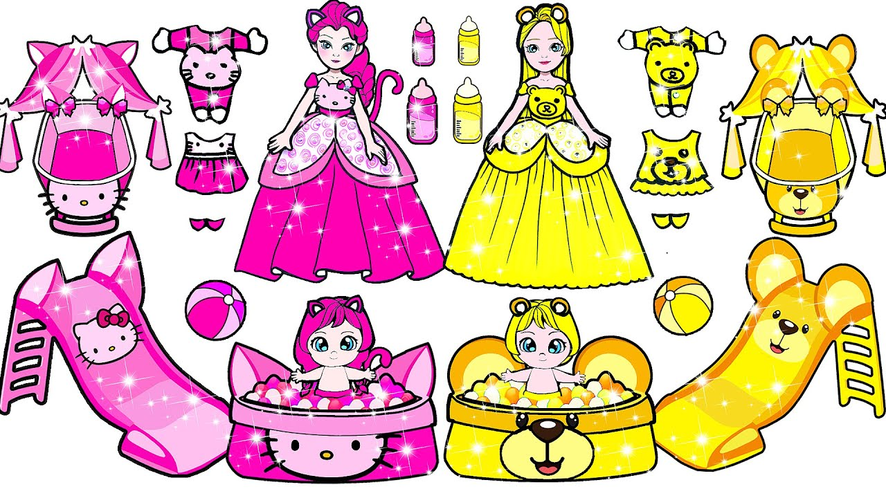 Download Paper Dolls Dress Up - Pink & Yellow Challenge Adorable Sister Handmade Quiet Book - Barbie New Home