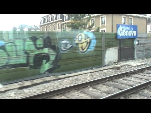 Swiss Federal Railways from Cornavin Geneva to Geneva Airport in 3D 4K UHD