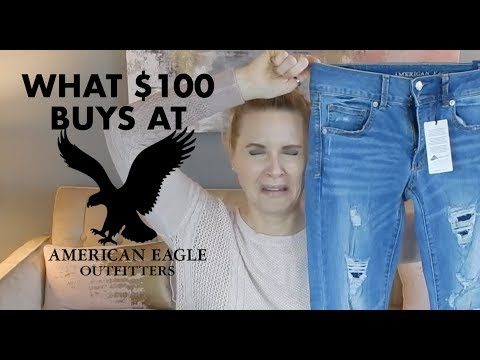 WHAT $100 BUYS YOU AT AMERICAN EAGLE | CLOTHING HAUL & TRY ON | Skip2mylou