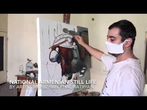 Armenian paintings Հայկական նատյուրմորտ լամպով