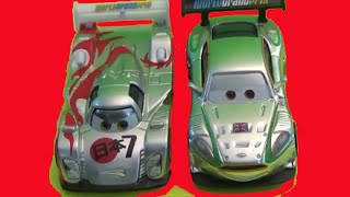 Disney/Pixar Cars Exclusive Silver Racer Series Shu Todoroki Nigel Gearsley Review by BluAndBlo