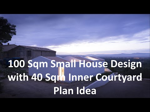 100 Sqm Small House Design with 40 Sqm Inner Courtyard Plan Idea