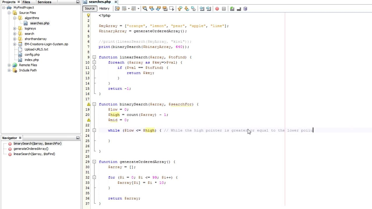 how to sort and search a list in netbeans