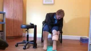 Almost 90 putting on compression stockings