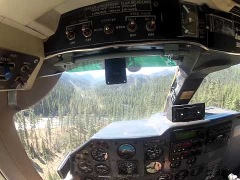 Britten Norman Islander landing at a wilderness ranch