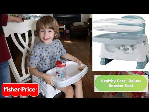 FISHER PRICE 🍀HEALTHY CARE DELUXE BOOSTER SEAT REVIEW W/ 4 YEAR OLD 👈