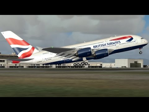 FSX HD Project Airbus A380 BA 286 San Francisco to London Full Flight Passenger Wing View