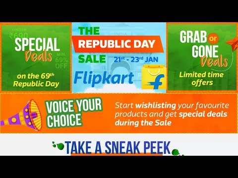 Flipkart The Republic Day Sale 2018 - Amazing Deals on Smartphones, Cameras, Electronic, etc (HINDI)