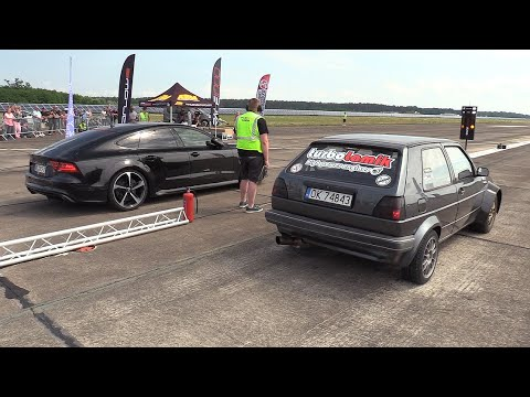 730HP VW Golf 2 1.8T Vs Audi RS7 Sportback