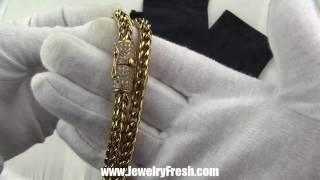 18k gold ip luxury edition franco chain 6mm iced clasp