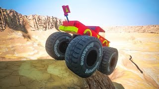 Downhill with Lego Monster Truck | Brick Rigs