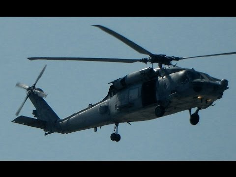 Sikorsky HH-60H Seahawk Helicopter Engine Start Up, Taxi & Landing at Van Nuys Airport
