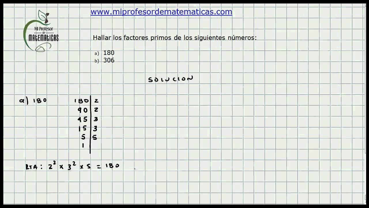calculo factores primos de un numero