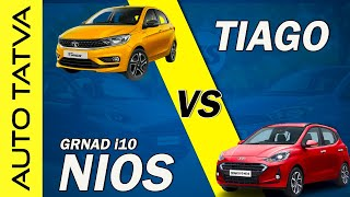 Tata Tiago vs Hyundai Grand i10 Nios : Comparison : Hindi : Auto Tatva