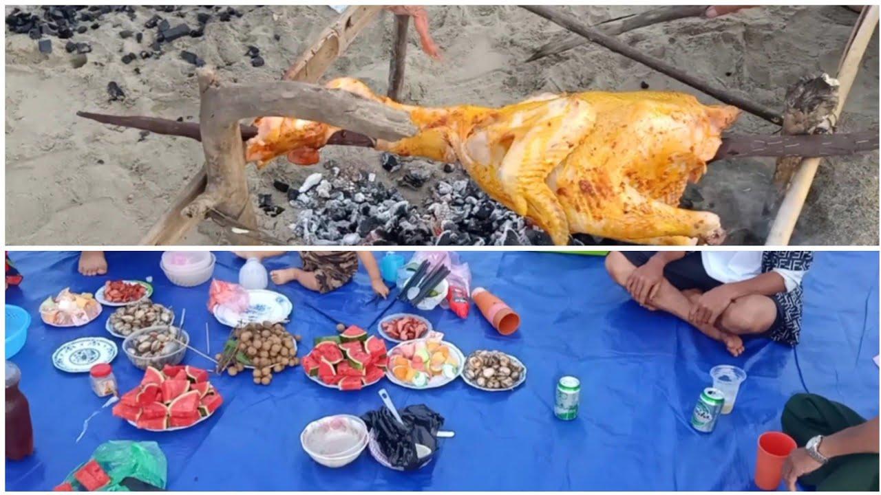 Nướng gà cắm trại trên biển vui chơi cùng gia đình 1 ngày ( KTQ Vlogs )