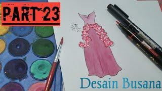 Download Video #WATERCOLOR Desain Gaun Dengan Cat Air Mudah dan Simpel.. PART 23!! MP3 3GP MP4