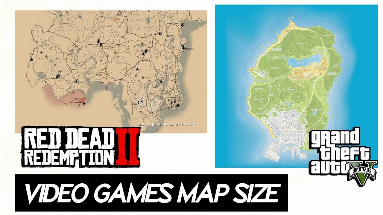 Video Game Maps Size Comparison 2019 Including 20 Games Red Dead 2 Fallout 76 More Youtube