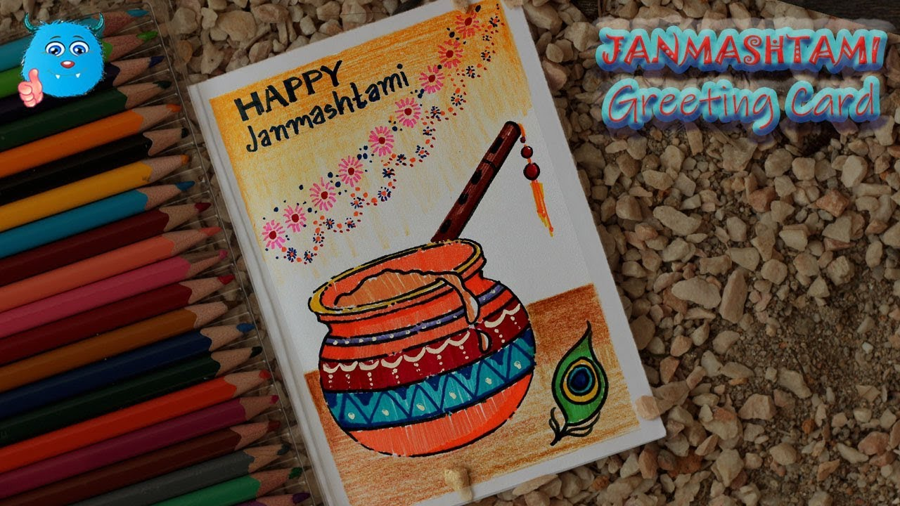 How to Draw Krishna Janmashtami Festival Greeting Card in Pencil Color