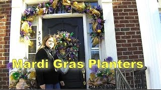 Deco Mesh Mardi Gras Decorating Planters