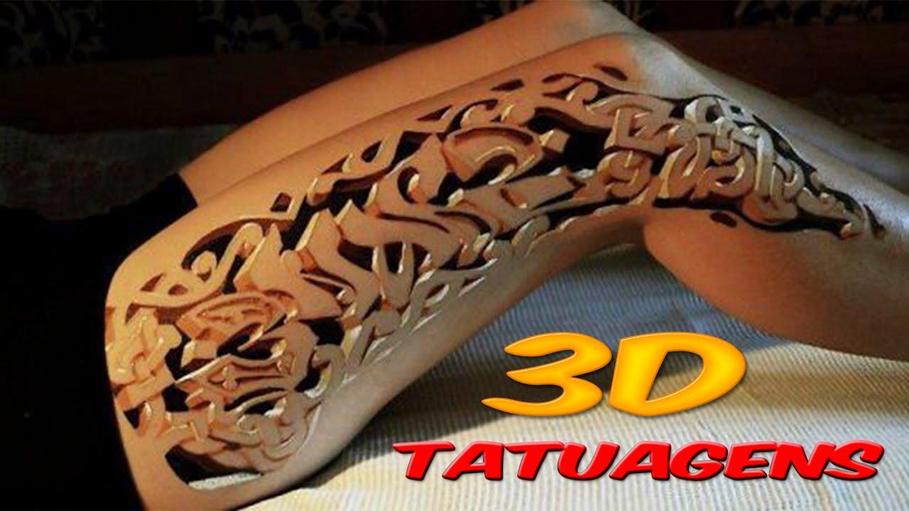 Tatuagem 3D furos na perna